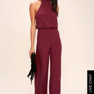 Lulus Wine Red Jumpsuit